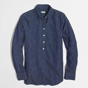 J. Crew Factory Embroidered Dot Boyfriend Shirt